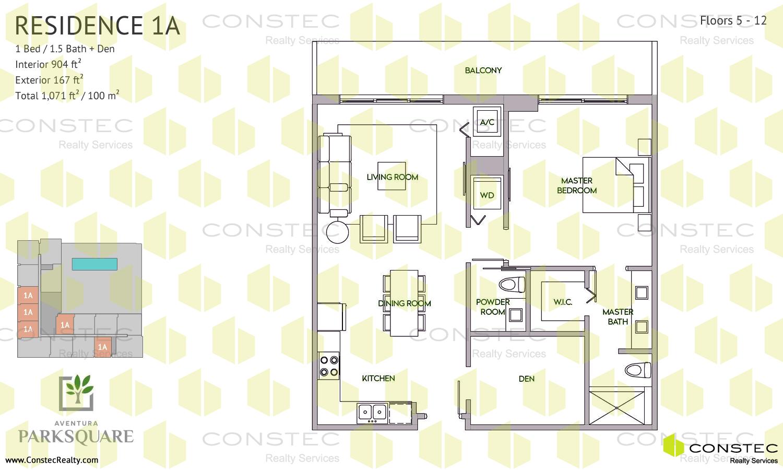 Perfect 1 Bedroom / 1.5 Bath / Den Floors 5   12. Interior: 904 Ft2 / 84 M2.  Exterior: 167 Ft2 / 16 M2. Total: 1071 Ft2 / 100 M2