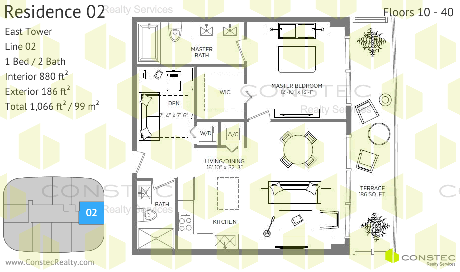 Attractive Floors 10   40. Interior: 880 Ft2 / 82 M2. Exterior: 186 Ft2 / 17 M2.  Total: 1066 Ft2 / 99 M2